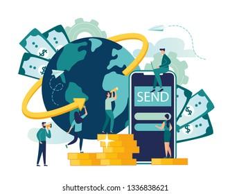 Vector illustration, digital currency exchange, finance, digital money market, cryptocoin wallet, stock exchange, online money transfer