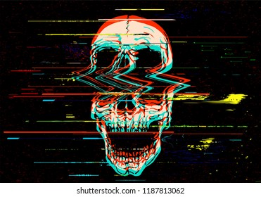 Vector illustration of digital glitch screaming skull in rgb mode offset.