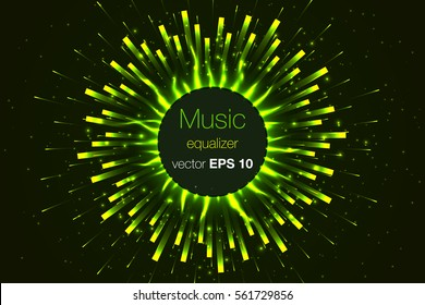 Vector illustration digital green equalizer club studio dance music. Sound wave futuristic display. Music equalizer.