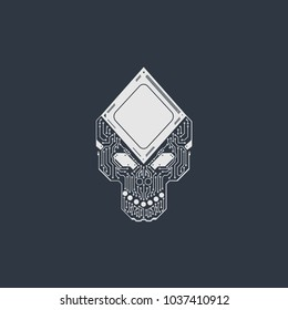 vector illustration of digital skull