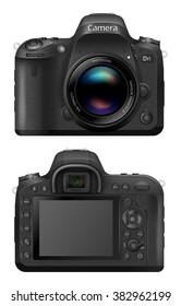 Vector illustration of digital SLR  Camera System with prime lens mounted. Front and back sides