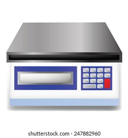 Vector Illustration  with Digital Weighing Scale Isolated on White  Background