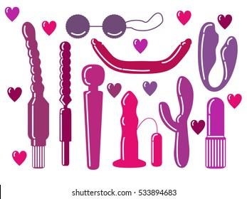 Vector illustration with dildos, vibrators