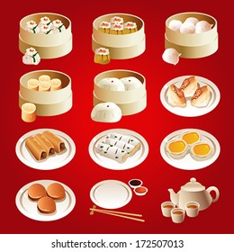 A vector illustration of dim sum icon sets