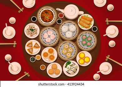 A vector illustration of dimsum on the table viewed from above