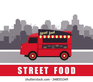 vector illustration diner on wheels on the bus on the background of the city