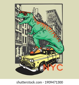 Vector illustration of dinosaur attacking the city. Graphic design for kids t-shirt