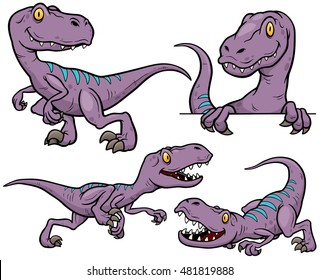 Vector illustration of Dinosaur Cartoon Character Set