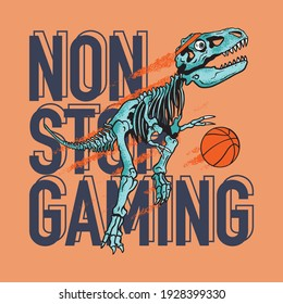 Vector illustration of dinosaur skeleton play basketball and typography