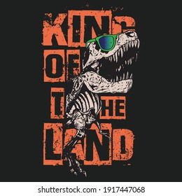 Vector illustration of dinosaur skeleton with slogans.