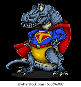 Vector illustration of dinosaur t-rex character design with superhero costume and strong muscle. Ready to use for mascot design or sport team.