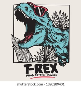 Vector illustration of dinosaur wearing sunglasses t-rex with leaves