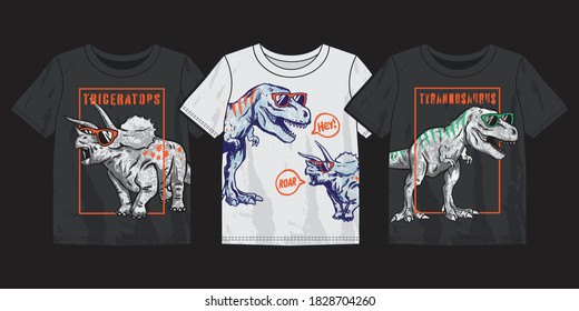Vector illustration of dinosaurs and 3-pack graphic t-shirt design.
