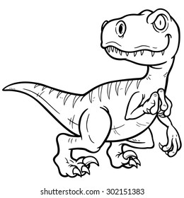 Vector illustration of Dinosaurs cartoon - Coloring book