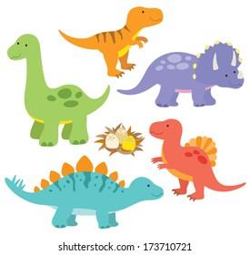Vector illustration of dinosaurs including Stegosaurus, Brontosaurus, Velociraptor, Triceratops, Tyrannosaurus rex, Spinosaurus.