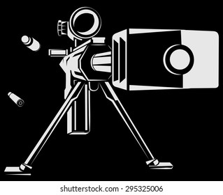 Vector illustration with directional sniper gun on the black background
