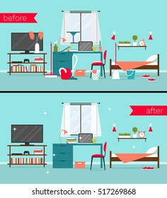 Vector illustration of dirty and clean bedrooms with cleaning tools