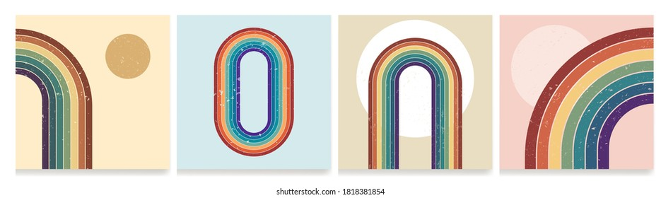 Vector illustration. Dirty grunge texture. Abstract background set. Contemporary backgrounds. Colorful rainbow. Design elements for social media, blog post, web banner. 60s, 70s retro graphic