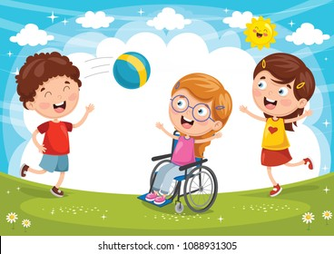 Vector Illustration Of Disabled Kid