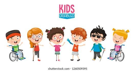 Vector Illustration Of Disabled Kids