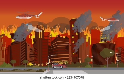 Vector Illustration Disaster City Absorbed by Fire. Concept image City Fire Fighting. Group Firefighter Extinguishes burning Building with Hose. Red Firetruck. Rescue Helicopter over City