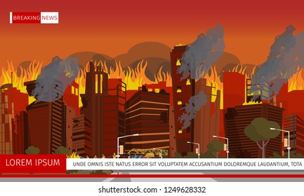 Vector illustration Disaster City Absorbed by Fire. Banner image release Breaking News City Fire Fighting. Group Firefighter extinguishes burning Building with Hose. Red Firetruck.