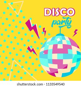 Vector Illustration. Disco ball icon. Disco party poster. Retro style. Background