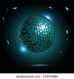 Vector illustration of disco ball on black background