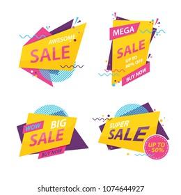 vector illustration of discount sale  badge set, Online sale bannes collection