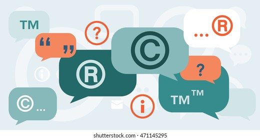 vector illustration of  discussion about copyright intellectual property and trademarks with speech bubbles and quotes