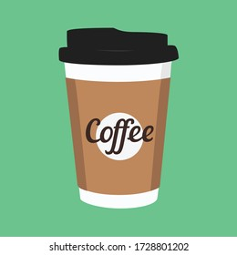 Vector illustration disposable coffee cup icon on green background. Coffee cup logo
