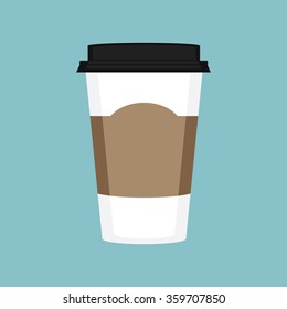 Vector illustration disposable coffee cup on blue background. Coffee cup logo