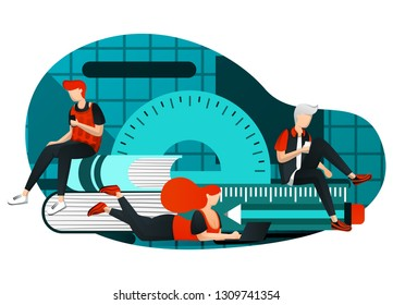 vector illustration of distance learning, 4.0 learning revolution, trendy. group of people studying together but focus on laptop / smartphone. tutoring, education technology. flat cartoon character