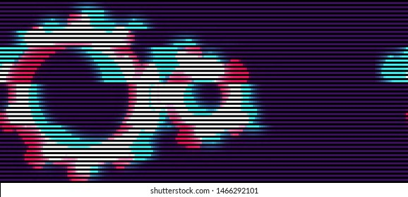 Vector Illustration of a distorted glitch background. Glitched techno pattern in a style of 80's. Wallpaper in a cyberpunk style. Creative graphic design for poster,brochure,flyer and card.