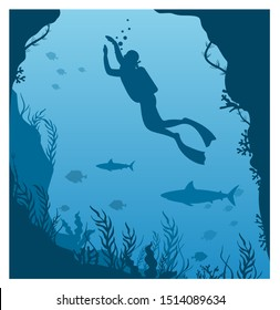 Vector illustration of dive deep in water. Silhouette of scuba diver, man in aqualung with lantern and coral reef, big fishes on a blue sea background in flat style.