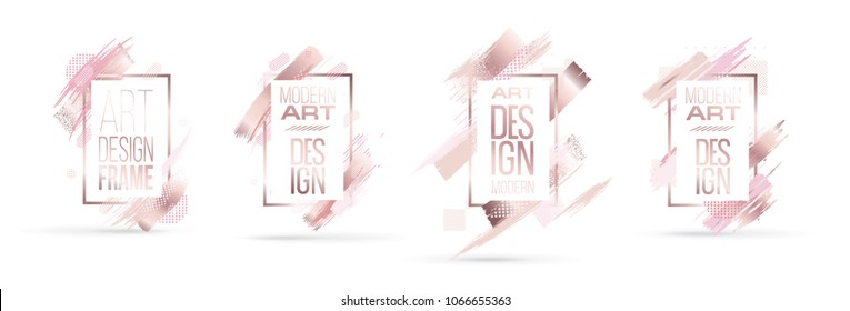 vector illustration. divorce brush with elegant pink gold. modern trendy trendy frame design. Exclusive graphics for invitations, booklets, flyers, wedding invitations and cards