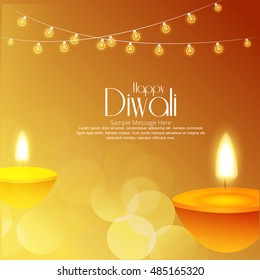 Vector illustration of Diwali festival with beautiful stylish lamp and Diwali lighting elements