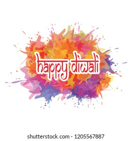 Vector illustration of Diwali festival with orange, red, purple watercolor splashes background.