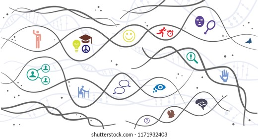 vector illustration of DNA chains and people behaviours for neural genetics and character heritage visuals