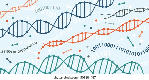 vector illustration of DNA and digital codes and chains as concept for genetic information transfer