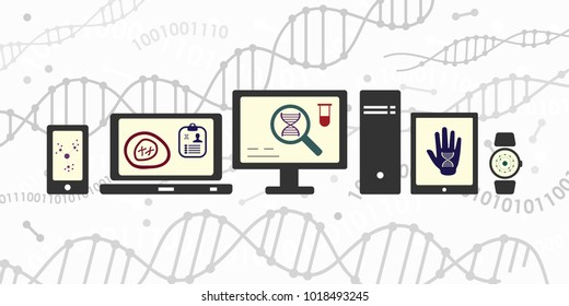 vector illustration of DNA and genomics research devices computers and tablets for digital health and genetic science concepts