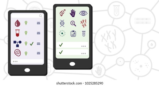 Vector illustration of DNA and genomics research mobile phone technology for digital health and genetic science concepts