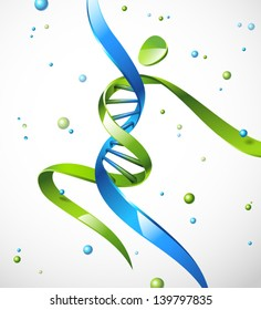 Vector illustration of a DNA strand in a shape of a human