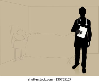Vector illustration of a doctor in a hospital room with a patient.