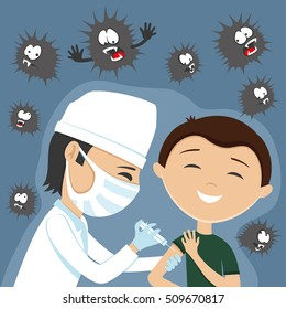 Vector illustration. Doctor makes vaccination.