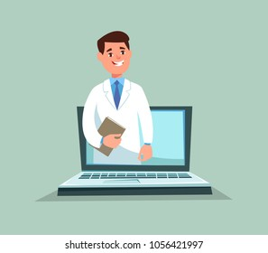 Vector illustration of doctor medical consultation online. Concept of modern internet technologies in medicine