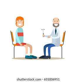 Vector illustration of doctor neurologist examining his patient male with reflex hammer. Medical practitioner flat style design element, icon isolated on white background.