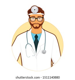 Vector illustration of doctor with stethoscope on yellow background
