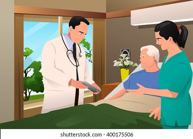 A vector illustration of doctor talking to his patient at the hospital