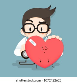 Vector Illustration, Doctor tiny character heart health check